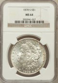 Morgan Dollars: , 1878-S $1 MS64 NGC. NGC Census: (14066/4470). PCGS Population(12839/4248). Mintage: 9,774,000. Numismedia Wsl. Price for p...