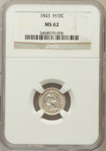 Seated Half Dimes: , 1843 H10C MS62 NGC. NGC Census: (29/116). PCGS Population (21/89).Mintage: 1,165,000. Numismedia Wsl. Price for problem fr...