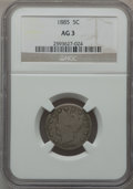 Liberty Nickels: , 1885 5C AG3 NGC. NGC Census: (0/525). PCGS Population (139/939).Mintage: 1,476,490. ...