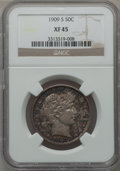 Barber Half Dollars: , 1909-S 50C XF45 NGC. NGC Census: (3/66). PCGS Population (7/102).Mintage: 1,764,000. Numismedia Wsl. Price for problem fre...