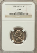 Proof Jefferson Nickels: , 1942 5C Type One PR65 NGC. NGC Census: (439/1052). PCGS Population(986/1660). Mintage: 29,600. Numismedia Wsl. Price for p...