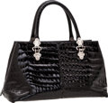 Luxury Accessories:Bags, Bottega Veneta Shiny Black Crocodile Tote Bag. ...