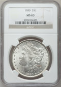 Morgan Dollars: , 1880 $1 MS63 NGC. NGC Census: (4366/5173). PCGS Population(4151/4842). Mintage: 12,601,355. Numismedia Wsl. Price for prob...