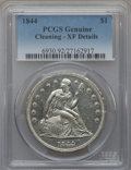 Seated Dollars, 1844 $1 -- Cleaning -- PCGS Genuine. XF Details. NGC Census:(12/125). PCGS Population (22/167). Mintage: 20,000. Numismedi...