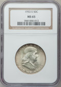 Franklin Half Dollars: , 1953-S 50C MS65 NGC. NGC Census: (2718/529). PCGS Population(4482/562). Mintage: 4,148,000. Numismedia Wsl. Price for prob...