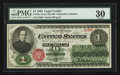 Large Size:Legal Tender Notes, Fr. 16c $1 1862 Legal Tender PMG Very Fine 30.. ...