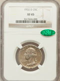 Washington Quarters: , 1932-D 25C XF45 NGC. CAC. NGC Census: (206/1839). PCGS Population(318/3138). Mintage: 436,800. Numismedia Wsl. Price for p...
