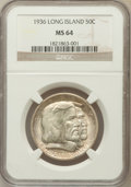 Commemorative Silver: , 1936 50C Long Island MS64 NGC. NGC Census: (1826/1548). PCGSPopulation (2262/1656). Mintage: 81,826. Numismedia Wsl. Price...