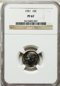 Proof Roosevelt Dimes: , 1951 10C PR67 NGC. NGC Census: (447/190). PCGS Population (382/39).Mintage: 57,500. Numismedia Wsl. Price for problem free...
