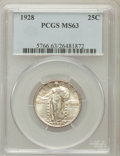Standing Liberty Quarters: , 1928 25C MS63 PCGS. PCGS Population (189/291). NGC Census:(87/289). Mintage: 6,336,000. Numismedia Wsl. Price for problem ...