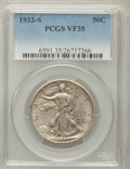 Walking Liberty Half Dollars: , 1933-S 50C VF35 PCGS. PCGS Population (20/1426). NGC Census:(8/856). Mintage: 1,786,000. Numismedia Wsl. Price for problem...
