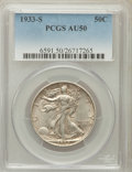 Walking Liberty Half Dollars: , 1933-S 50C AU50 PCGS. PCGS Population (48/1271). NGC Census:(18/793). Mintage: 1,786,000. Numismedia Wsl. Price for proble...