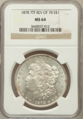 Morgan Dollars: , 1878 7TF $1 Reverse of 1878 MS64 NGC. NGC Census: (3483/496). PCGSPopulation (2508/505). Mintage: 4,900,000. Numismedia Ws...