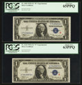 Small Size:Silver Certificates, Fr. 1609 $1 1935A R Silver Certificate. PCGS Gem New 65PPQ.. Fr. 1610 $1 1935A S Silver Certificate PCGS Choice New 63PPQ.. ... (Total: 2 notes)