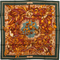 "Luxury Accessories:Accessories, Hermes Orange, Burgundy & Olive ""Casse-Noisette,"" by Antoine deJacquelot Silk Scarf. ..."