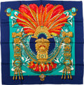 "Luxury Accessories:Accessories, Hermes Blue & Gold ""Mexique,"" by Caty Latham Silk Scarf. ..."