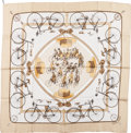 "Luxury Accessories:Accessories, Hermes White & Gold ""Les Becanes,"" by Hugo Grygkar Silk Scarf...."