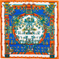 "Luxury Accessories:Accessories, Hermes Orange, White & Blue ""Astres et Soleils,"" by AnnieFaivre Silk Scarf. ..."