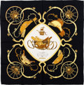 "Luxury Accessories:Accessories, Hermes Black & Gold ""Springs,"" by Philippe Ledoux Silk Scarf. ..."
