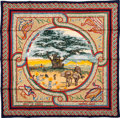 """Luxury Accessories:Accessories, Hermes Red, Blue & Yellow """"Sous le Cedre,"""" by Dimitri Rybaltchenko Silk Scarf. ..."""