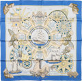 "Luxury Accessories:Accessories, Hermes Light Blue & Gold ""L'Air Marin,"" by Joachim Metz SilkScarf. ..."