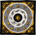 "Luxury Accessories:Accessories, Hermes Black, Gold & White ""Astrologie,"" by Francoise FaconnetSilk Scarf. ..."