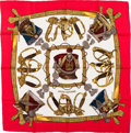 "Luxury Accessories:Accessories, Hermes Red, White & Gold ""Grand Uniforme,"" by Joachim Metz Silk Scarf. ..."