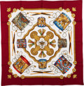 """Luxury Accessories:Accessories, Hermes Red, White & Gold """"Les Tambours,"""" by Joachim Metz Silk Scarf. ..."""