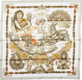"Luxury Accessories:Accessories, Hermes Mint & White ""Le Matin Neuf,"" by Joachim Metz Silk Scarf. ..."