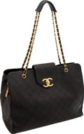 Luxury Accessories:Bags, Chanel Black Diamond-Stitch Lambskin Leather Supermodel WeekendTote Bag. ...