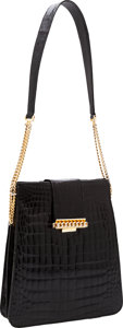 Luxury Accessories:Bags, Sacha of France Shiny Black Alligator Bag. ...