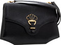 Luxury Accessories:Bags, Hermes Black Lizard Sac Fan Shoulder Bag with Gold Hardware. ...
