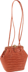 Luxury Accessories:Bags, Judith Leiber Peach Crocodile Frame Closure Evening Bag. ...