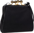 Luxury Accessories:Bags, Judith Leiber Black Satin Evening Bag. ...
