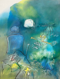 ROBERTO MATTA (Chilean, 1911-2002) Untitled, c. 1977 Oil on canvas 34-3/4 x 26-1/2 inches (88.3 x