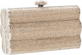 Luxury Accessories:Bags, Judith Leiber Full Bead Champagne Minaudiere Evening Bag with Large Crystal Closure. ...
