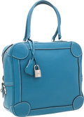 Luxury Accessories:Bags, Hermes 25cm Blue Jean Clemence Leather Omnibus Bag with PalladiumHardware. ...