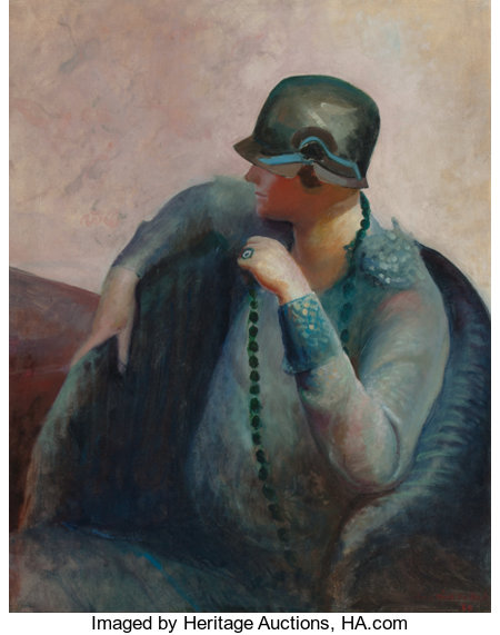 GUY PÈNE DU BOIS (American, 1884-1958) The Artist's Wife, 1928 Oil on canvas 36 x 29 inches (91.4 x 73.7 cm) Signed ...
