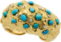 Estate Jewelry:Bracelets, Turquoise, Diamond, Gold Bracelet, David Webb. ...