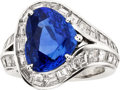 Estate Jewelry:Rings, Sapphire, Diamond, Platinum Ring, Barducci. ...