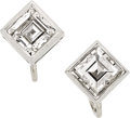 Estate Jewelry:Earrings, Diamond, Platinum, White Gold Earrings, French. ...