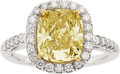 Estate Jewelry:Rings, Fancy Yellow Diamond, Diamond, White Gold, Gold Ring. ...