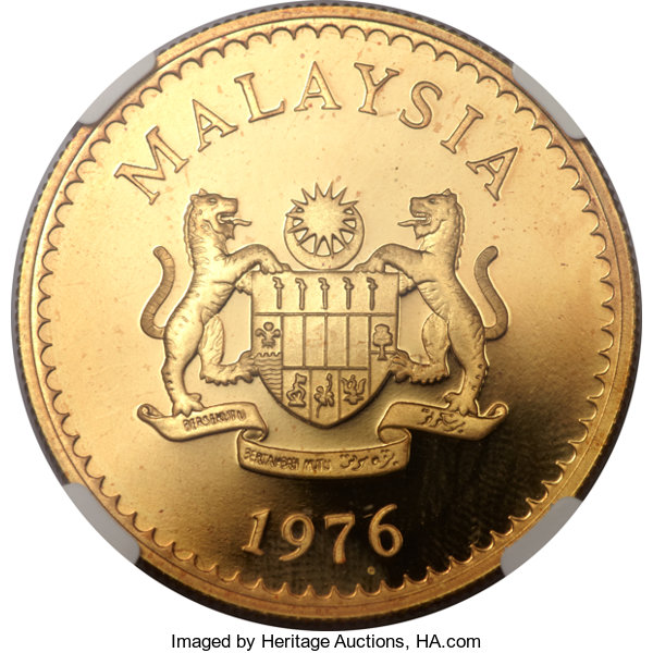 Malaysia Constitutional Monarchy Gold 500 Ringgit 1976 Lot