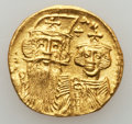 Ancients:Byzantine, Ancients: Constans II, with Constantine IV, Heraclius and Tiberius(AD 641-668). AV solidus (4.38 gm)....