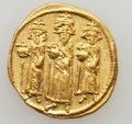 Ancients:Byzantine, Ancients: Heraclius, with Heraclius Constantine and Heraclonas (AD610-641). AV solidus (4.44 gm)....