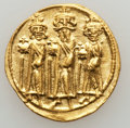 Ancients:Byzantine, Ancients: Heraclius, with Heraclius Constantine and Heraclonas (AD610-641). AV solidus (4.48 gm)....