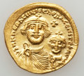 Ancients:Byzantine, Ancients: Heraclius, with Heraclius Constantine (AD 610-641). AVsolidus (4.43 gm). ...