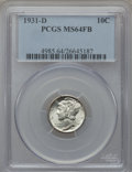 Mercury Dimes: , 1931-D 10C MS64 Full Bands PCGS. PCGS Population (324/542). NGCCensus: (87/199). Mintage: 1,260,000. Numismedia Wsl. Price...