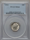 Mercury Dimes: , 1931 10C MS64 PCGS. PCGS Population (108/123). NGC Census:(85/116). Mintage: 3,150,000. Numismedia Wsl. Price for problem ...