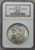 Morgan Dollars: , 1889 $1 MS65 NGC. Ex: Jules River Collection. NGC Census:(1961/207). PCGS Population (1707/203). Mintage: 21,726,812.Numi...